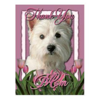 Danke - rosa Tulpen - Westhochland Terrier Postkarte