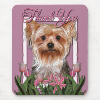 Danke - rosa Tulpen - Yorkshire Terrier Mauspad