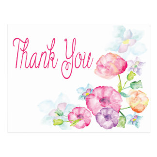 Danke rosa u. lila Watercolor-Blumen-Postkarte Postkarte