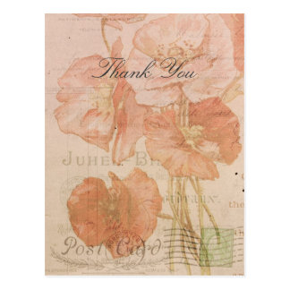 Danke rote rosa Mohnblumen-Vintage Art-Collage Postkarten