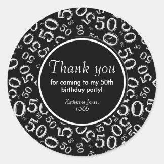 Danke: Schwarzweiss-50. Geburtstags-Party Runder Aufkleber