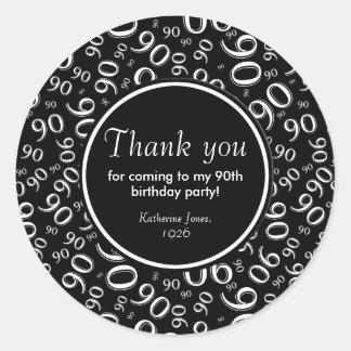 Danke: Schwarzweiss-90. Geburtstags-Party Runder Aufkleber