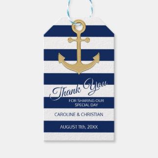 DANKE Seemarine-Blau-Anker-Hochzeit Geschenkanhänger