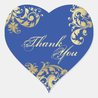 Danke Siegel - königliches Blau u. Herz-Aufkleber