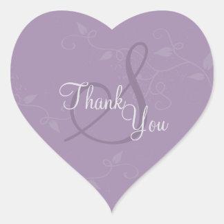 Danke Siegel - Lavendel-lila Monogramm-Hochzeit Herz-Aufkleber