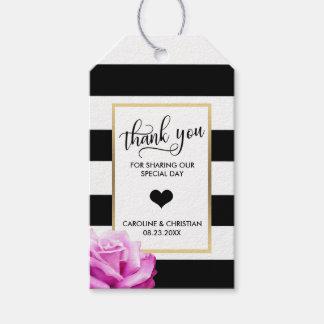 DANKE Stripes weiße rosa ROSE Herz-Hochzeit Geschenkanhänger