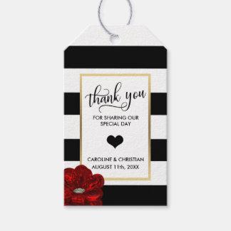DANKE Stripes weiße Rosen-Herz-Hochzeit Geschenkanhänger