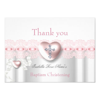 Danke Taufe-rosa silbernes Foto-Herz-Kreuz 12,7 X 17,8 Cm Einladungskarte