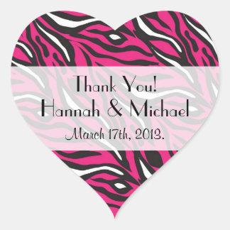 Danke - Tierdruck, Zebra-Streifen - Rosa Herz-Aufkleber