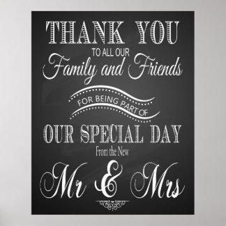 Danke, unterzeichnen Hochzeit herein Tafel - Tafel Poster
