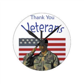 Danke Veterane Runde Wanduhr