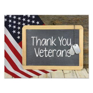 Danke Veteranenzeichen auf Tafel Photo Drucke