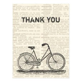 Danke Vintage Fahrrad-Brown-Wörterbuch-Seite Postkarte