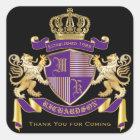 Danke Wappen Monogramm-goldenes Löwe-Emblem Quadratischer Aufkleber