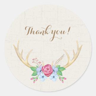 """""""Danke"""" Watercolor-Rotwild-Geweihe mit Blumen Runder Aufkleber"""