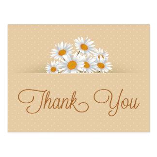 Danke weißes Gänseblümchen-Blumenpunkt-Rosa Postkarte