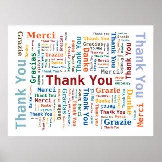 Danke, Wolke in 5 mehrfarbigen Sprachen abzufassen Poster