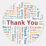 Danke, Wolke in 5 Sprachen abzufassen Runder Sticker