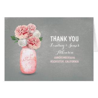 Danken niedliches Rosa gemaltes Maurerglas Ihnen Mitteilungskarte