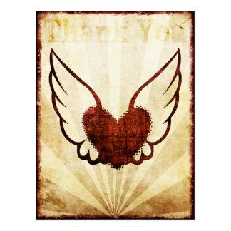 Danken rote Tätowierung Winged Herz Ihnen Postkart Postkarten