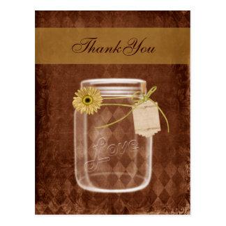 danken rustikale Weckglashochzeit der Sonnenblume Postkarte