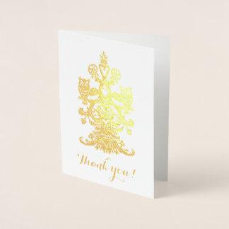 Danken Sie goldenen königlichen Eulen Yus Folienkarte