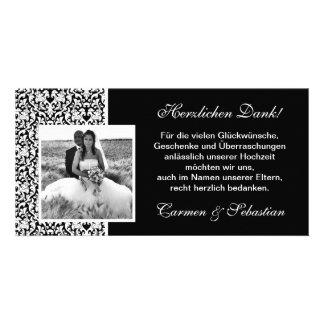 Danksagungskarte zur Hochzeit mit Damastmuster Photokarte