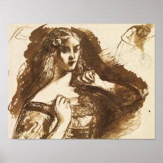 Dante Gabriel Rossetti - Hälfte-lange Skizze Poster