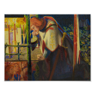 Dante Gabriel Rossetti - Sir Galahad an ruiniert Poster