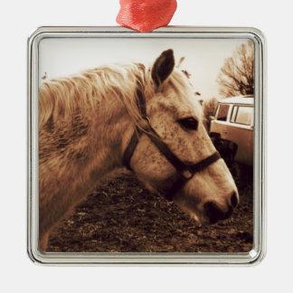 Dappled Pferd und Bus Silbernes Ornament