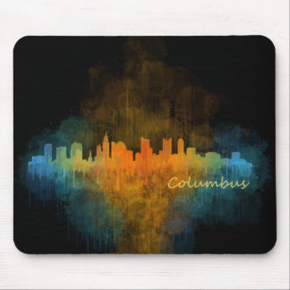 Dark Columbus Ohio, City Skyline, Watercolor, v4 Mousepad