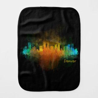 Dark Denver Colorado City Watercolor Skyline v4 Spucktuch