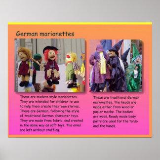 Darstellende Künste, deutsche Marionetten Poster