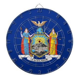Dartboard mit Flagge von New York, USA Dartscheibe