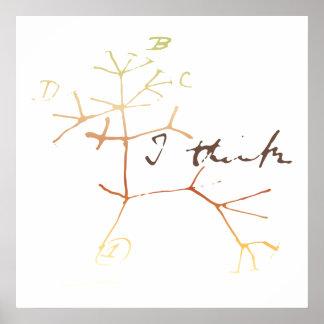Darwin, denke ich Baum an das Leben Poster