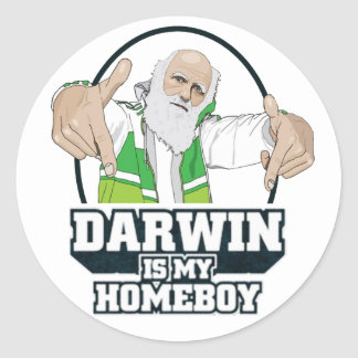 Darwin ist mein Homeboy (farbenreich) Runder Aufkleber