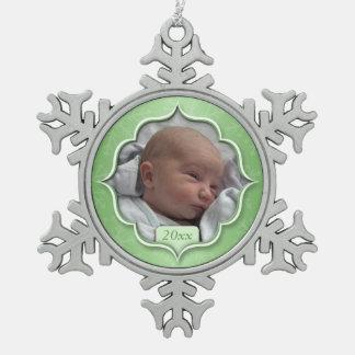 Das 1. Weihnachten des Babys oder IRGENDEINE FOTO Schneeflocken Zinn-Ornament
