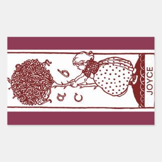 Das ABC-Baum-Buchzeichen-Aufkleber des Kindes Rechteckiger Aufkleber