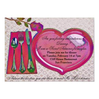 Das Abendessen-Einladung des geheimen 12,7 X 17,8 Cm Einladungskarte