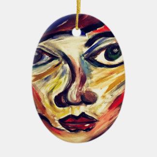 Das abstrakte Gesicht der Frau Ovales Keramik Ornament