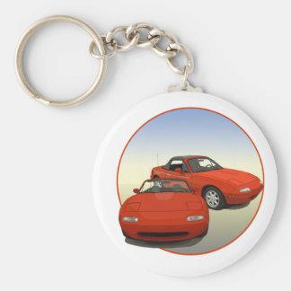 Das Alleen-Kunst-rote Sport-Auto Standard Runder Schlüsselanhänger