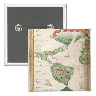 Das Amerika, Detail von Weltatlas, 1565 Quadratischer Button 5,1 Cm
