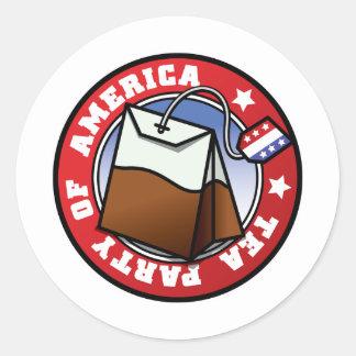 Das amerikanische Tee-Party Runder Aufkleber