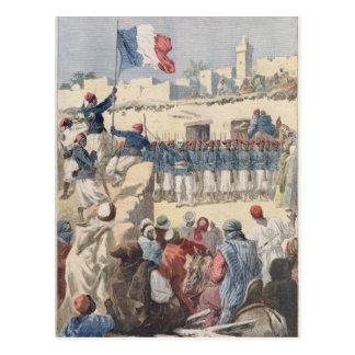 Das Anheben der französischen Flagge in Timbuktu Postkarte