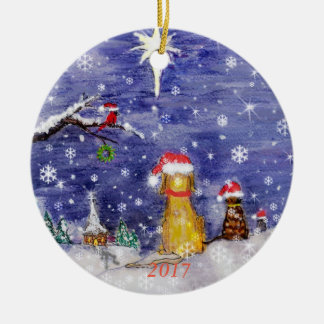 Das Aquarell 2017 der Tiere Weihnachts Keramik Ornament
