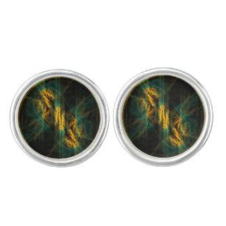Das Auge des Dschungel-abstrakten Kunst-Silbers Manschettenknöpfe