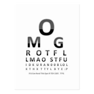 Das Augen-Diagramm des Text-Süchtigen Postkarte