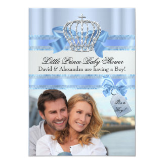 Das Baby-Duschen-Jungen-blauer kleiner Prinz Foto 11,4 X 15,9 Cm Einladungskarte