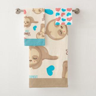 Das Baby-niedlicher entzückender BrownSloth der Badhandtuch Set