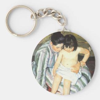 Das Bad des Kindes durch Vintagen Impressionismus Schlüsselanhänger